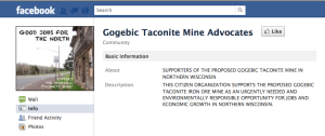 Gogebic Taconite Mine Advocates Facebook Page