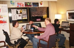"Mary Pearson, Joe Weirzbicki, Donald La Combe and Ryan Gill, from Campaign to Defeat Obama, working out of their ""secret"" war room in Milwaukee. Are they the source of Operation Burn Unit?"