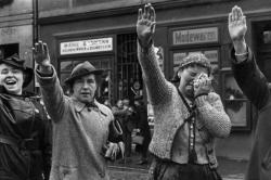 People of Eger, in the Sudetenland (now Cheb, Czech Republic), greet German soldiers with the Hitler salute in October 1938
