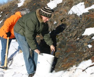 Wisconsion scientists collecting rock samples from the Penokee Hills near the proposed site of a 22-mile open pit iron ore mine.