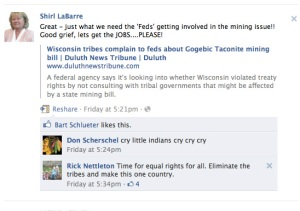 Shirl LaBarre's Facebook page reveals racists slurs and blatant disregard for Federal Treaty Rights