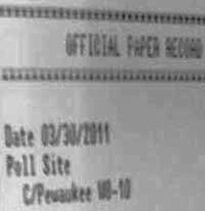 One of several photos of a touch screen poll tape observed at the Supreme Court recount from Pewaukee dated March 30, 2011 1:40 AM for an election that took place April 5, 2011. Photo: Barbara With