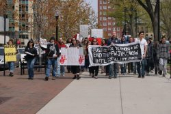 ISO leads the rally in a march around the Capitol square during the rally. Photo: Leslie Amsterdam