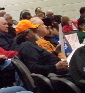 Citizens attending the listening session were allowed as much time as they needed to epxress their views, and could hold large signs protesting Jauch's decisions. No one was arrested and no one was gaveled off, as so many have been at other mining hearings.
