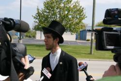 Arthur Kohl-Riggs granting numerous interviews while on the campaign trail in Green Bay.  Photo: Leslie Amsterdam
