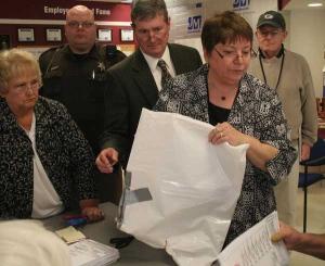 Menomenee Falls ballot bag: winged and duct taped. April 2011 Recount