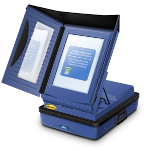 Edge Touchscreen Voting Machine. Ask for a paper ballot instead of voting on one of these.