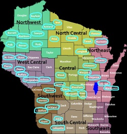 Circled counties indicate where ballots are hand-counted in Wisconsin