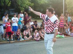walker in flag shirt