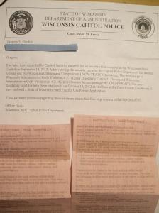 Greg Gordon's letter and citations from his presence at the Capitol 9/14/12. Photo: Greg Gordon