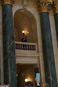 CPO Andrew Hyatt videotaping the proceedings on the ground and first floors from the second floor of the Capitol. This footage is being used to issue citations after the fact to citizens who were inside the Capitol on 9/14/12.
