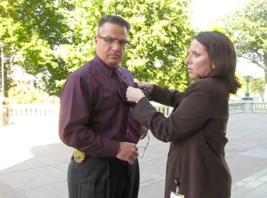 Chief Erwin and POI Stephanie Marquis prepare for a rare interview with WMTV. Photo by Nicole Schulte