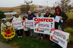 Just Say No to Palermo's/Kirkland Pizza! Community and Union leaders from around Wisconsin gathered Saturday 10/13/12 for an informational picket at Costco in Madison to bring awareness to the national boycott of Palermo's, supported by Voces de la Frontera and United Steelworkers. Costco's Kirkland brand pizza is manufactured by Palermo's. Today in Madison, Palermo's workers make their case in front of the Joint Legislative Audit Bureau, meeting at 10am, in the WI State Capitol. Phoro: Leslie Amsterdam