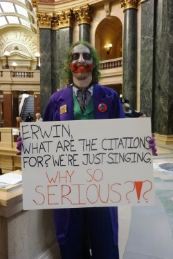 Halloween for the Solidarity Sing Along at WI Capitol. Photo by Rebecca Kemble.