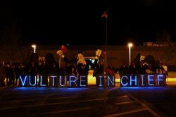 Overpass Light Brigade lights up the vulture procession outside of the Sensata plant on Halloween. Workers and their supporters marched on the plant to show their displeasure with Sensata's parent company, Bain Capital, outsourcing their jobs to China. The profitable Sensata plant is set to close November 5, leaving dozens of people without the good paying jobs of Sensata.