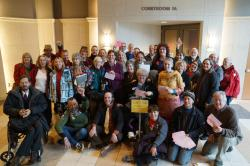Free speech activists and supporters following initial appearances for 20 people and 25 tickets on November 16th. Photo courtesy Leslie Amsterdam.