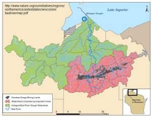 Map of the Bad River Watershed where all the wastewater from the mine would flow.
