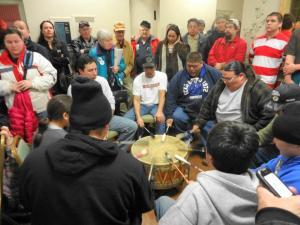 January 11, 2012 Hurley public hearing, prayers before the testimony. PhotoL Rebecca Kemble