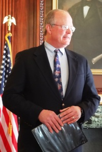 Sen. Dale Schultz (R-Richland Center) at a joint press conference with Sen. Tim Cullen (D-Janesville) unveiling an alternative mining bill on January 22, 2013.