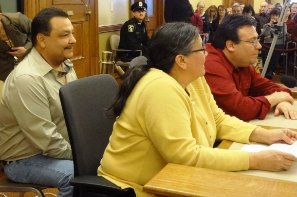 Bad River Ojibwe Chairman Mike Wiggins, Jr. and Council members Frank Connors and Reann Maday.