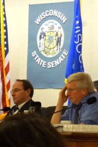 Sen. Tom Tiffany and Sen. Glenn Grothman, recipients of large campaign donations from mining deregulation advocates.
