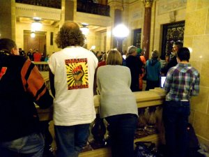 January 26, 2012 Speaker Pro Tem Rep. Kramer (R-) orders all visiters removed from teh gallery and the doors locked while they vote on AB426. All Republicans ask to be named authors of the bill. Photo. Michael Matheson