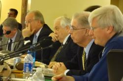 Sen. Bob Jauch (D-Poplar) listening to testimony at the November 28 9, 2013 Mining Committee hearing. Also present were Senators Holperin, Schultz, Cullen and Grothman. Senators Lehman, Erpenbach, Coles and Lazich are also on the committee. Grothman was sitting in for Lazich.