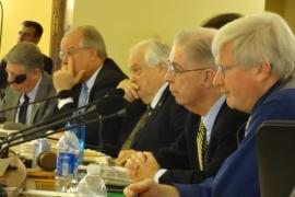 Sen. Bob Jauch (D-Poplar) listening to testimony at the November 289, 2013 Mining Committee hearing. Also present were Senators Holperin, Schultz, Cullen and Grothman. Senators Lehman, Erpenbach, Coles and Lazich are also on the committee. Grothman was sitting in for Lazich.