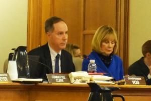 "Rep. Vos and Sen Darling, co-chairs of Joint Finance Committee, listening to Mike Wiggins testify on the amended version of AB426:  ""Treaties were done to avoid blood spilling on the ground, to avoid wars over resources. They were compromises and mutual understandings that we will need basic things to live our lives, and for us that's clean air and water. I don't know if there's anything more you need to know about it."""
