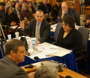 Rep. Fred Clark (D-Baraboo) in the back row listening to testimony from GTac at the 1/23/13 mining hearing.