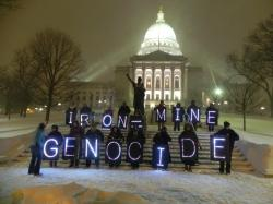 January 22, 2013  Overpass Light Brigade, Madison WI on the eve of the legislature hearing the mining bill. Photo: Rebecca Kemble