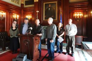 Elected officials from Northern Wisconsin holding a press conference at the Capitol.