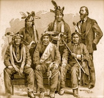 "Chief Buffalo (center) and the delegation to Washington. Image from ""Early Life Among the Indians: Reminiscences from Image from from ""Early Life Among the Indians: Reminiscences from the Life of Benj. G. Armstrong,"" published 1892"