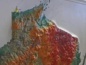 Richard Ketring brought a map illustrating the topography of the Bad River watershed.