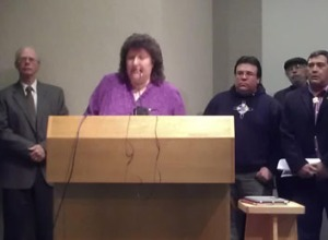Red Cliff Tribal Chair Rose Soulier addressing the press conference in Ashland.