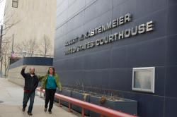Jason Huberty and Sue Trace provide courtroom solidarity outside the US Courthouse where Prof. Michael Kissick takes on DOA Secretary Mike Huebsch and WI Capitol Police Chief David Erwin for curtailing his ability to exercise his First Amendment rights in the public forum otherwise known as the Wisconsin Capitol.