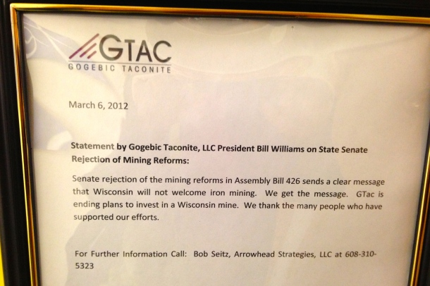 GTac lobbyist Bob Seitz statement on the 2012 failure of a mining deregulation bill.