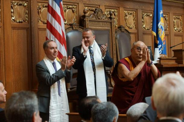 HH the Dalai Lama after blessing Assembly Speaker Robin Vos and Assembly Speaker Pro Tempore Bill Kramer. Photo by Leslie Amsterdam