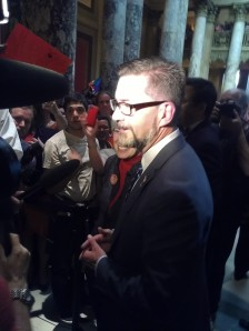 Sen. Scott Dibble, co-sponsor of the bill, outside the Senate chambers shortly after passage.