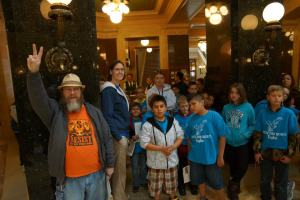 A group of school children visiting the capitol.