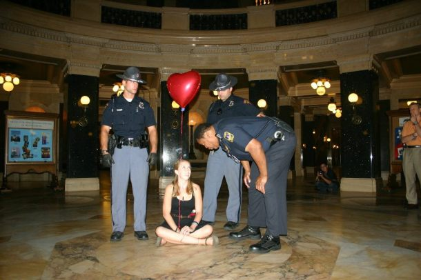 The last protester remaining in the Capitol after a  sit-in 8.25.11 Photo by Callen Harty