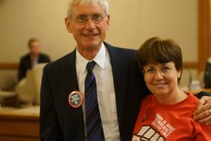 Madison teacher Susan Cohen with State Superintendent of Public Instruction, Tony Evers. Photo courtesy of Leslie Amsterdam