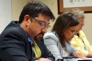 DoA Legal Counsel Greg Murray and Executive Assistant Wendy Coomer during the public hearing.