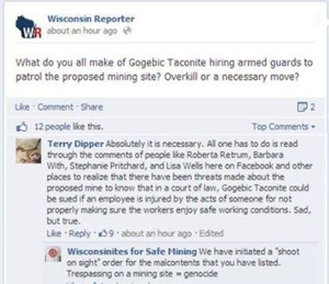 Death threats from Wisconsinites for Safe Mining.