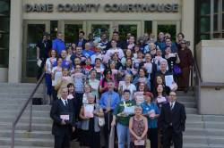 Some of those who plead not guilty to the citations received for singing in the Capitol