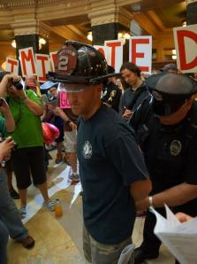 Madison Firefighter Teddy Higgins, arrested at the Capitol. Photo courtesy Leslie Peterson