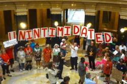 Solidarity Sing Along at the Wisconsin State Capitol August 19, 2013  Photo: Rebecca Kemble
