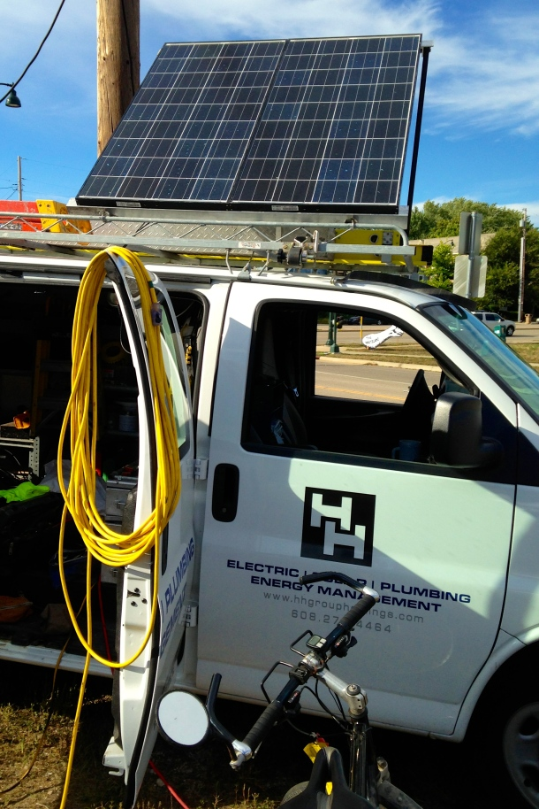 Photovoltaic panels atop H&H van. Photo by Rebecca Kemble