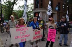 Medea Benjamin joins an anti-drone march in Madison on August 11, 2013. Photo by Leslie Amsterdam