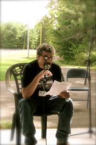 Rob Ganson reads his speech to the Sawyer County Dems gathering. Photo courtesy of Greg Jennings